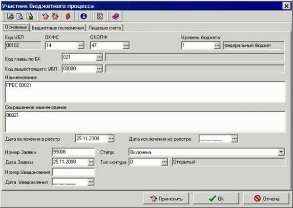 Код организации в реестре участников бюджетного процесса