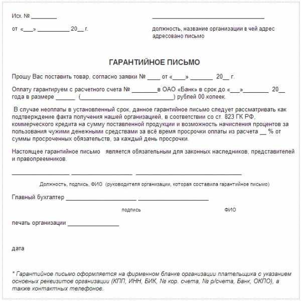 Гарантийное письмо при регистрации ооо форма штраф регистрация ип